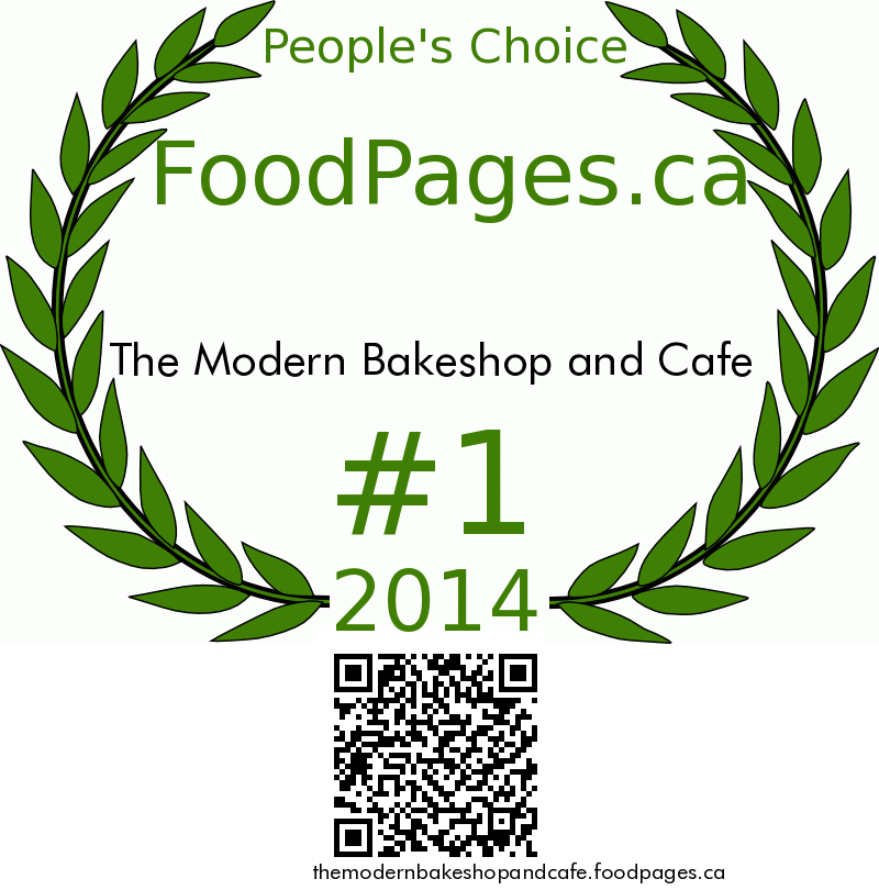 The Modern Bakeshop and Cafe FoodPages.ca 2014 Award Winner