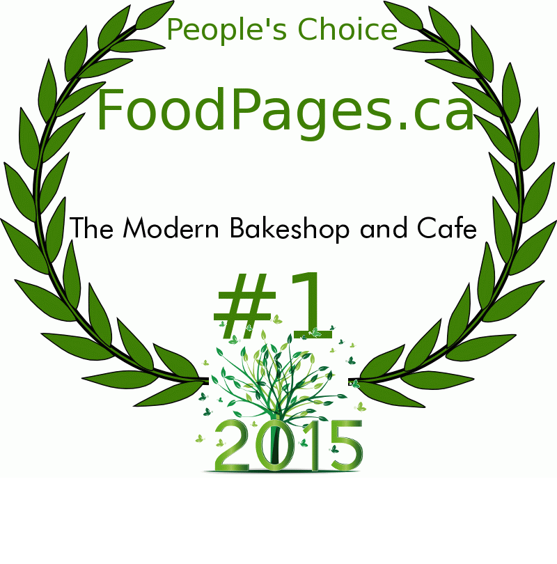 The Modern Bakeshop and Cafe FoodPages.ca 2015 Award Winner